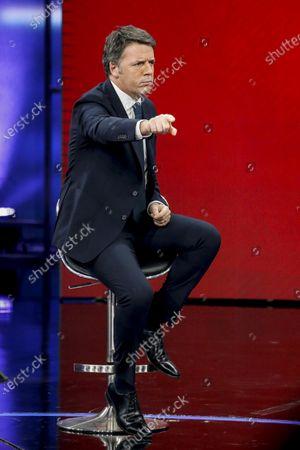 Former Italian prime minister and leader of Italian party Italia Viva, Matteo Renzi (L), attends the La7 Italian TV program 'Non e l'arena' hosted by Italian journalist Massimo Giletti in Rome, Italy, 17 January  2021.