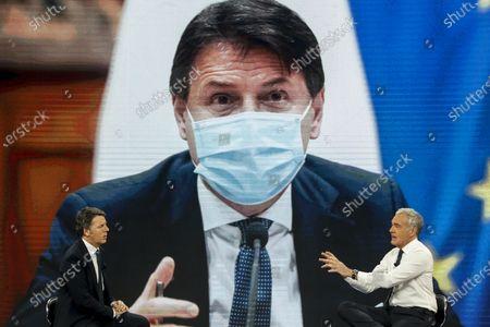 Former Italian prime minister and leader of Italian party Italia Viva, Matteo Renzi (L), attends the La7 Italian TV program 'Non e l'arena' hosted by Italian journalist Massimo Giletti (R), in Rome, Italy, 17 January 2021.