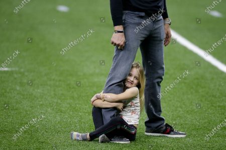 New Orleans Saints quarterback Drew Brees plays with his daughter Rylen Brees after an NFL divisional round playoff football game against the Tampa Bay Buccaneers, in New Orleans. The Tampa Bay Buccaneers won 30-20