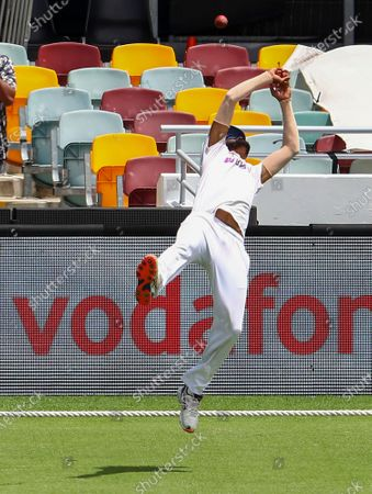 India's Mohammed Siraj drops a catch off Australia's Steve Smith during play on day four of the fourth cricket test between India and Australia at the Gabba, Brisbane, Australia