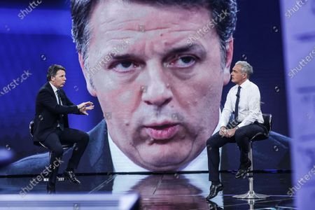 Stock Photo of Former Italian Prime Minister and Leader of Italian party Italia Viva, Matteo Renzi (L), journalist Massimo Giletti during the show 'Non e l'arena'
