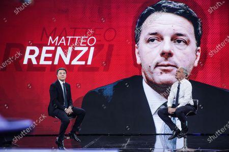 Former Italian Prime Minister and Leader of Italian party Italia Viva, Matteo Renzi (L), journalist Massimo Giletti during the show 'Non e l'arena'