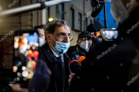 Founder of Italian party 'Fratelli d'Italia', Ignazio La Russa, talks with journalists at the end of the centre-right parties' meeting at the Lega's headquarters in Milan