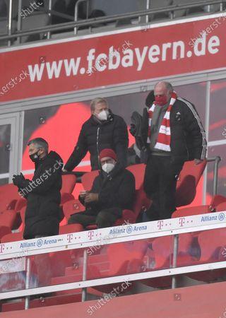 Stock Photo of die Bayern Verantwortlichen auf der Tribüne, (L-R) stellv. Vorstandsvorsitzender Jan-Christian Dreesen (Bayern München), Vorstandsmitglied Oliver Kahn (Bayern München), Vorstandsvorsitzender Karl-Heinz Rummenigge (Bayern München) and stellv. Aufsichtsratsvorsitzender Uli Hoeness (Bayern München)