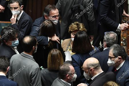 Stock Picture of Deputy Renata Polverini (C) after the confidence vote in the Lower House of the Parliament in Rome, Italy, 18 January 2021. Italian Prime Minister Giuseppe Conte appealed to the Lower House for support in order to keep his government alive after Matteo Renzi's Italia Viva (IV) party triggered a crisis last week by pulling his party's ministers from the cabinet. The Lower House gives confidence to the Conte government with 321 votes in favor, 259 against and 27 abstentions.