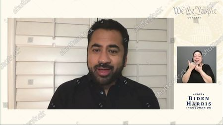 In this image from video, Kal Penn speaks during a 'We The People' concert, that is part of the 59th Presidential Inauguration events ahead of President-elect Joe Biden being sworn in as the 46th president of the United States