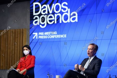 Norwegian Borge Brende, right, President and Member of the Managing Board of the World Economic Forum, WEF, and Saadia Zahidi, left, managing director of the World Economic Forum's Centre for the New Economy and Society speak during a virtual press conference to preview the Davos Agenda 2021, in Cologny near Geneva, during the coronavirus disease (COVID-19) outbreak, in Geneva, Switzerland, 18 January 2021. The Davos Agenda, from 25 to 29 January 2021, is an online mobilization of global leaders to shape the principles, policies and partnerships needed in this challenging new context. The World Economic Forum will hold its 2021 annual meeting in Singapore, from 25-28 May, instead of its traditional home in Davos in January, which is battling a rising number of coronavirus infections.