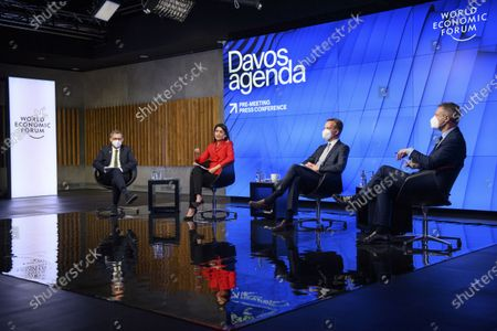 From right, Adrian Monck, Managing Director, Head of Public And Social Engagement at the World Economic Forum, WEF, Norwegian Borge Brende, President and Member of the Managing Board of the World Economic Forum, WEF, Saadia Zahidi, managing director of the World Economic Forum's Centre for the New Economy and Society and Dominic Kailash Nath Waughray, managing director of the World Economic Forum, WEF, speak during a virtual press conference to preview the Davos Agenda 2021, in Cologny near Geneva, during the coronavirus disease (COVID-19) outbreak, in Geneva, Switzerland, 18 January 2021. The Davos Agenda, from 25 to 29 January 2021, is an online mobilization of global leaders to shape the principles, policies and partnerships needed in this challenging new context. The World Economic Forum will hold its 2021 annual meeting in Singapore, from 25-28 May, instead of its traditional home in Davos in January, which is battling a rising number of coronavirus infections.