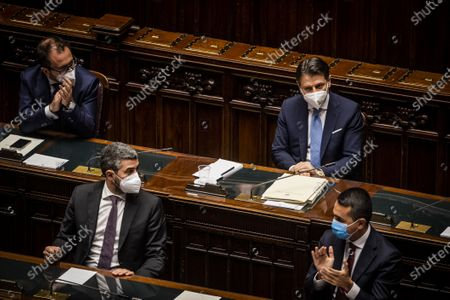 Italian Prime Minister Giuseppe Conte (R) near Italian Justice Minister Alfonso Bonafede, Undersecretary Riccardo Fraccaro, Italian Minister of Foreign Affairs Luigi Di Maio after the speech in the Lower House of the Parliament in Rome on the government crisis and asks for the vote of confidence