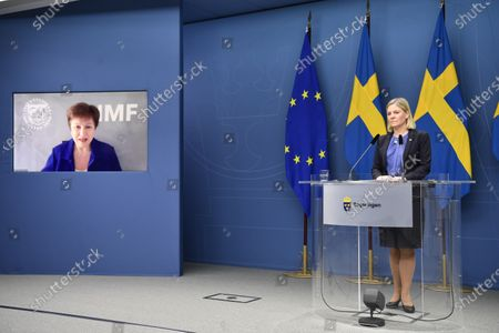 Sweden's Minister of Finance Magdalena Andersson speaks during a digital press conference together with the IMF's CEO Kristalina Georgieva on the occasion of Andersson taking over as chair man of the IMFC, the International Monetary Fund's highest advisory.