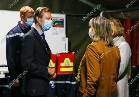 Stock Photo of Grand Duke Henri of Luxembourg (L) during a visit to the vaccination center at Hall Victor Hugo, in Luxembourg, 18 January 2021. Luxembourg citizens as well as cross-border workers receive an appointment for vaccination against COVID-19 thanks to the code provided in the invitation received by post. In the vaccination strategy, the first people to be vaccinated were health professionals and hospital staff.