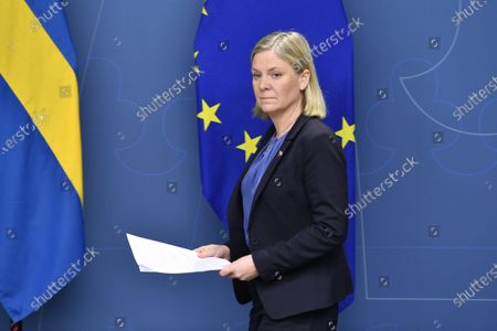 Sweden's Minister of Finance Magdalena Andersson during a digital press conference in Stockholm, Sweden, 18 January 2021, together with the IMF's CEO Kristalina Georgieva on the occasion of Andersson taking over as chair man of the IMFC, the International Monetary Fund's highest advisory.