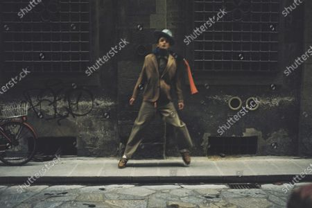 A Model wearing an outfit from the men s ready to wear collections, autumn-winter 2021 - 2022, original creation, during the Menswear Fashion Week in Milano, from the house of Nick Fouquet - Federico Curradi