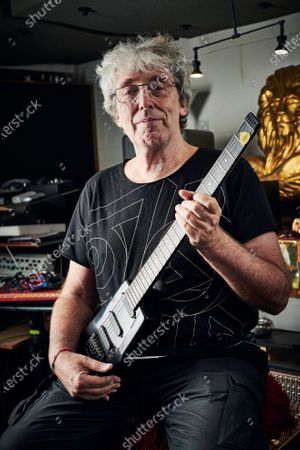 Stock Photo of Portrait of English musician Steve Hillage, photographed at his studio in London, England, on September 18, 2019. Hillage is best known as a member of progressive rock group Gong. (Photo by Olly Curtis/Guitarist Magazine)