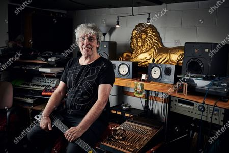 Stock Picture of Portrait of English musician Steve Hillage, photographed at his studio in London, England, on September 18, 2019. Hillage is best known as a member of progressive rock group Gong. (Photo by Olly Curtis/Guitarist Magazine)