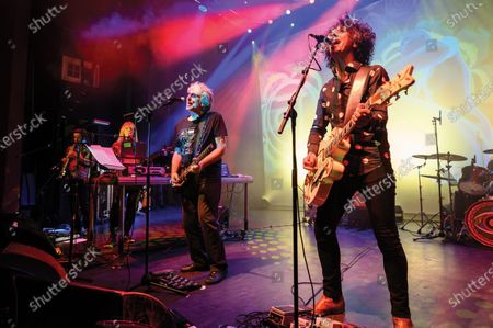 (L-R) Ian East, Miquette Giraudy, Steve Hillage and Kavus Torabi of progressive rock group The Steve Hillage Band performing live on stage at the O2 Shepherd's Bush Empire in London, on June 8, 2019. (Photo by Kevin Nixon/Prog Magazine)