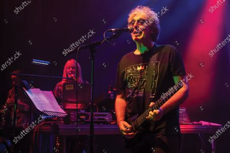 Keyboardist Miquette Giraudy (L) and guitarist Steve Hillage of progressive rock group The Steve Hillage Band performing live on stage at the O2 Shepherd's Bush Empire in London, on June 8, 2019. (Photo by Kevin Nixon/Prog Magazine)