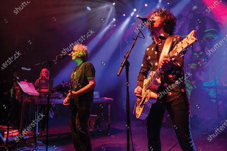 (L-R) Miquette Giraudy, Steve Hillage and Kavus Torabi of progressive rock group The Steve Hillage Band performing live on stage at the O2 Shepherd's Bush Empire in London, on June 8, 2019. (Photo by Kevin Nixon/Prog Magazine);Kavus Torabi
