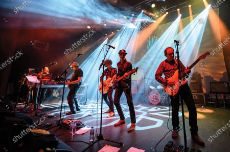 (L-R) Miquette Giraudy, Steve Hillage, Kavus Torabi, Dave Sturt and Fabio Golfetti of progressive rock group The Steve Hillage Band performing live on stage at the O2 Shepherd's Bush Empire in London, on June 8, 2019. (Photo by Kevin Nixon/Prog Magazine);Kavus Torabi;Dave Sturt;Fabio Golfetti