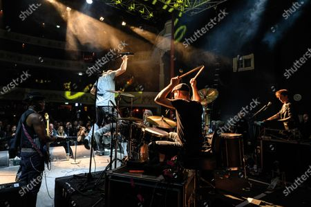 American funk rock group Dan Reed Network performing live on stage at Shepherd's Bush Empire in London, on December 11, 2019. (Photo by Kevin Nixon/Classic Rock Magazine)
