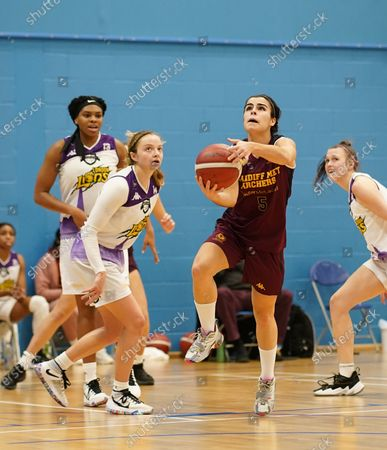 Kennedy Leonard (L) and Robyn Lewis are seen in action during the Women's British Basketball League between Cardiff Archers and London Lions at Cardiff Archers Arena. (Final score; Cardiff Archers 51:68 London Lions)