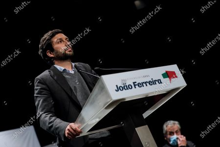 Candidate in the 2021 presidential elections Joao Ferreira (L) accompanied by the secretary general of the Comunist Party  Jeronimo de Sousa (R) during a public session at Marinha Grande, in the center of Portugal, 18 January 2021.