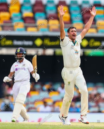 Australia's Mitchell Starc appeals unsuccessfully for the wicket of India's Cheteshwar Pujara during play on the final day of the fourth cricket test between India and Australia at the Gabba, Brisbane, Australia