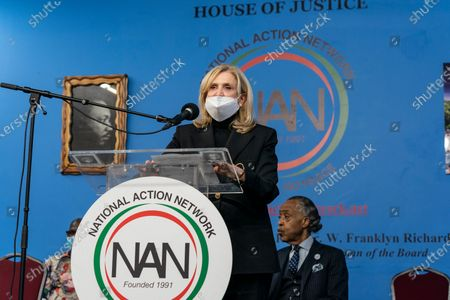 U. S. Representative Carolyn Maloney speaks during Martin Luther King celebration at NAN headquarters. Reverend Al Sharpton and National Action Network (NAN) hosted prominent clergy, elected officials and civil rights leaders at the House of Justice for their Annual Martin Luther King Day Public Policy Forum to honor the legacy of the Rev. Dr. Martin Luther King, Jr.