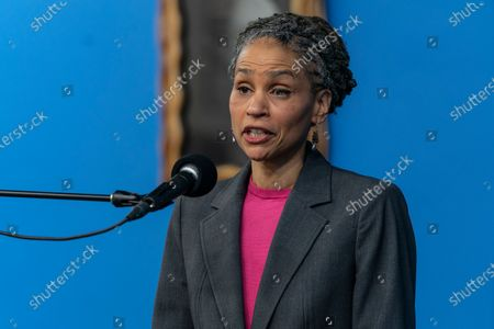 Stock Photo of Candidate for mayor of NYC Maya Wiley speaks during Martin Luther King celebration at NAN headquarters