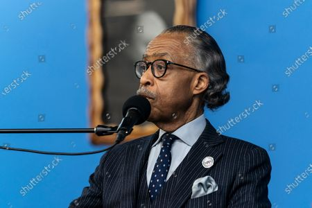 Reverend Al Sharpton speaks during Martin Luther King celebration at NAN headquarters