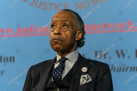 Stock Photo of Reverend Al Sharpton seen on stage during Martin Luther King celebration at NAN headquarters