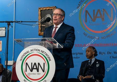 NYC Comtroller Scott Stringer speaks during Martin Luther King celebration at NAN headquarters