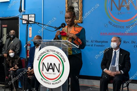 Chirlane McCray, New York City First Lady speaks during Martin Luther King celebration at NAN headquarters