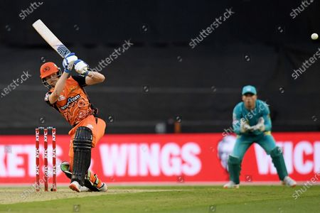 Cameron Bancroft of the Scorchers hits the ball through the leg side; Marvel Stadium, Melbourne, Victoria, Australia; Big Bash League Cricket, Perth Scorchers versus Brisbane Heat.