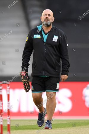 Heat coach Darren Lehmann inspects the wicket ahead of the game; Marvel Stadium, Melbourne, Victoria, Australia; Big Bash League Cricket, Perth Scorchers versus Brisbane Heat.