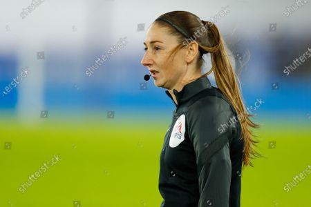 Assistant Referee Sian Massey-Ellis during the pre-match warm-up; King Power Stadium, Leicester, Midlands, England; English Premier League Football, Leicester City versus Chelsea.