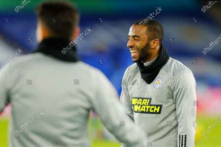 Stock Image of Ricardo Pereira of Leicester City during the pre-match warm-up; King Power Stadium, Leicester, Midlands, England; English Premier League Football, Leicester City versus Chelsea.