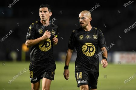 Graham Dorrans and James Troisi of Western Sydney Wanderers; Central Coast Stadium, Gosford, New South Wales, Australia; A League Football, Central Coast Mariners versus Western Sydney Wanderers.
