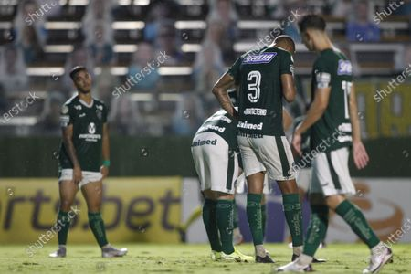 Players of Goias laments scored goal by Giorgian De Arrascaeta of Flamengo in the 42nd minute for 0-1