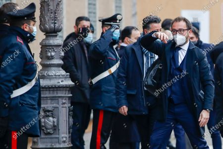 Justice Minister Alfonso Bonafede arrives at the Senate, in Rome, . Italian Premier Giuseppe Conte is fighting for his political life with an address aimed at shoring up support for his government, which has come under fire from former Premier Matteo Renzi's tiny but key Italia Viva (Italy Alive) party over plans to relaunch the pandemic-ravaged economy