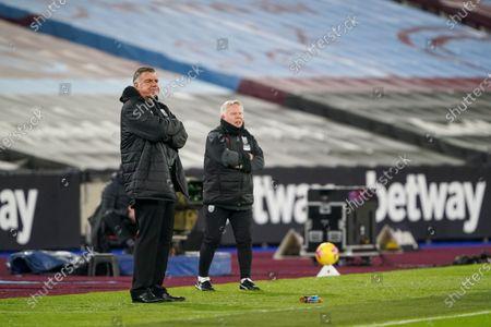 Sam Allardyce West Bromwich Albion Manager looks on from the sideline alongside Sammy Lee West Bromwich Albion Assistant Manager