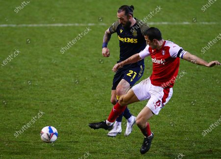 Stock Picture of Steven Fletcher of Stoke City and Richard Wood of Rotherham United