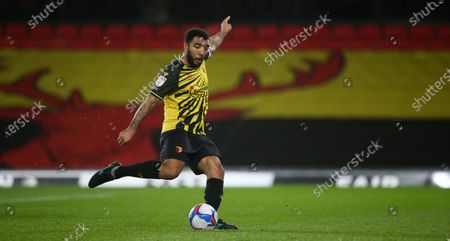 Troy Deeney of Watford scores a goal from the penalty spot