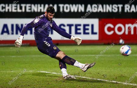 Tom King of Newport County takes a goal kick.