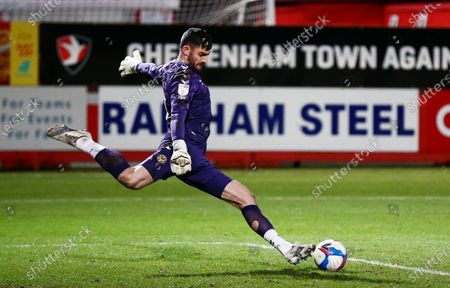 Stock Picture of Tom King of Newport County takes a goal kick.