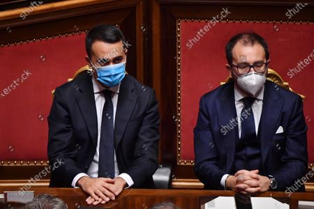 Italian Minister of Foreign Affairs Luigi Di Maio, Italian Minister of Justice Alfonso Bonafede during the speech of Prime Minister Giuseppe Conte at Senato in Rome on the government crisis and for a vote of confidence