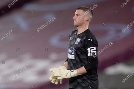 Sam Johnstone of West Brom in action during Premier League match between West Ham United and West Brom at The London Stadium in London.