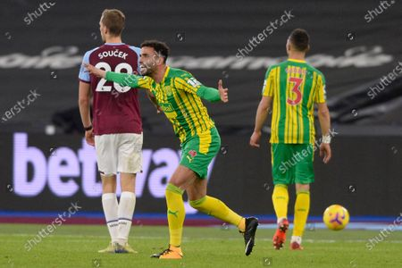 Hal Robson-Kanu of West Brom  during Premier League match between West Ham United and West Brom at The London Stadium in London.