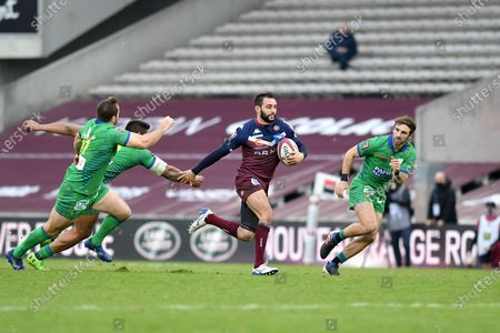 Jean Baptiste Dubie of Bordeaux Begles and Camille Lopez George Moala and Jean Pascal Barraque of ASM Clermont