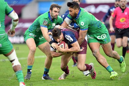 Pablo Uberti of Bordeaux Begles and Jean Pascal Barraque and George Moala of ASM Clermont